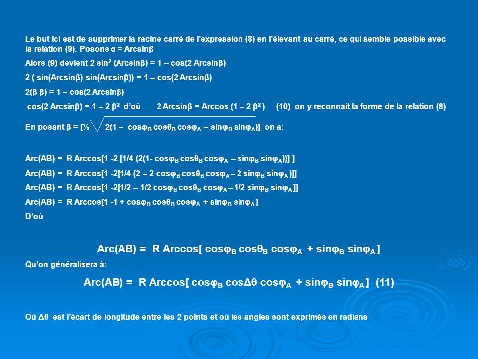 Arc(AB) = R Arccos[ cosφB cosθB cosφA + sinφB sinφA ]